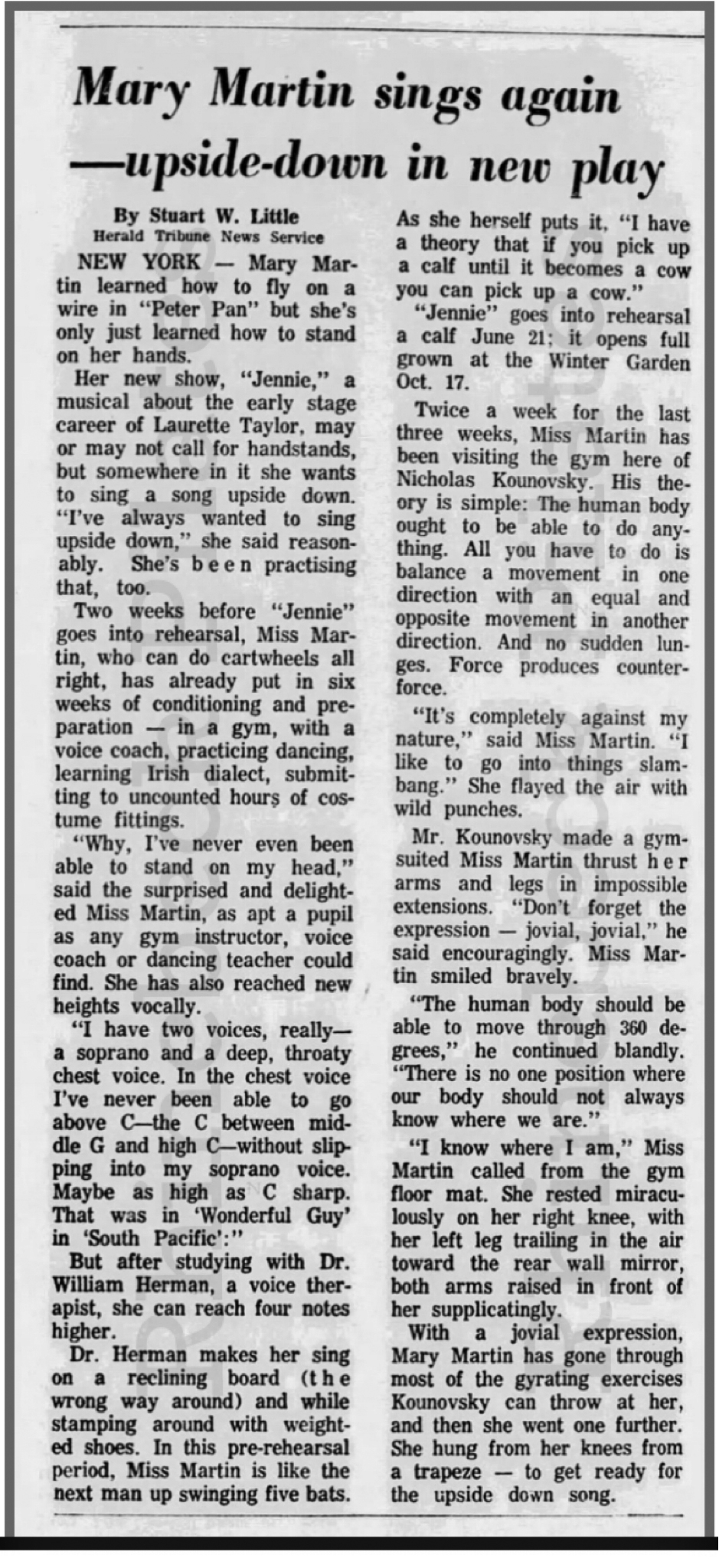 Mary Martin sing upside down pilates archive article