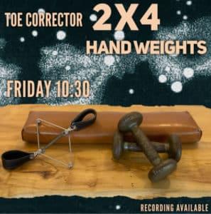 toe corrector 2x4 hand wieghts pilates online virtual class
