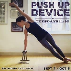 Push up device virtual online pilates class